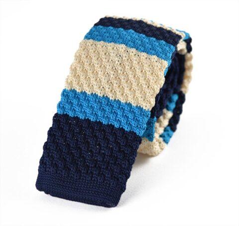 Πλεκτή Γραβάτα Wavy Blue