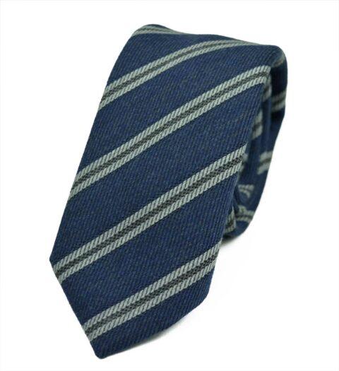 Γραβάτα από μαλλί και βαμβάκι Nile-blue