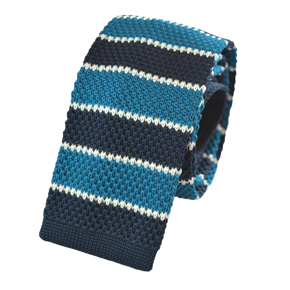 Πλεκτή γραβάτα μπλε με ρίγες