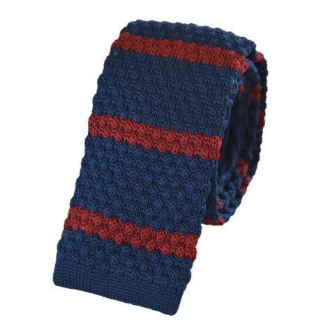 Πλεκτή γραβάτα μπλε με κόκκινο