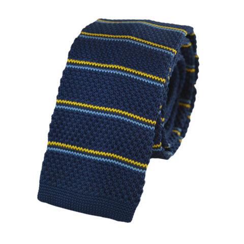 Πλεκτή γραβάτα μπλε με κίτρινο