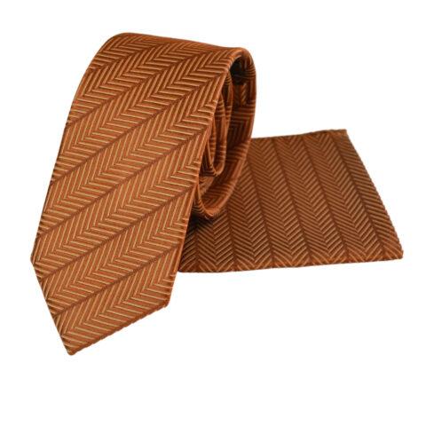 μεταξωτό σετ γραβάτας σε καμμένο πορτοκαλί