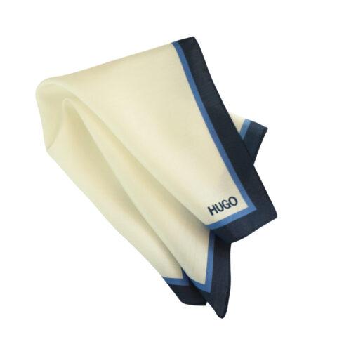 Μεταξωτό μαντηλάκι Hugo Boss λευκό με μπλε