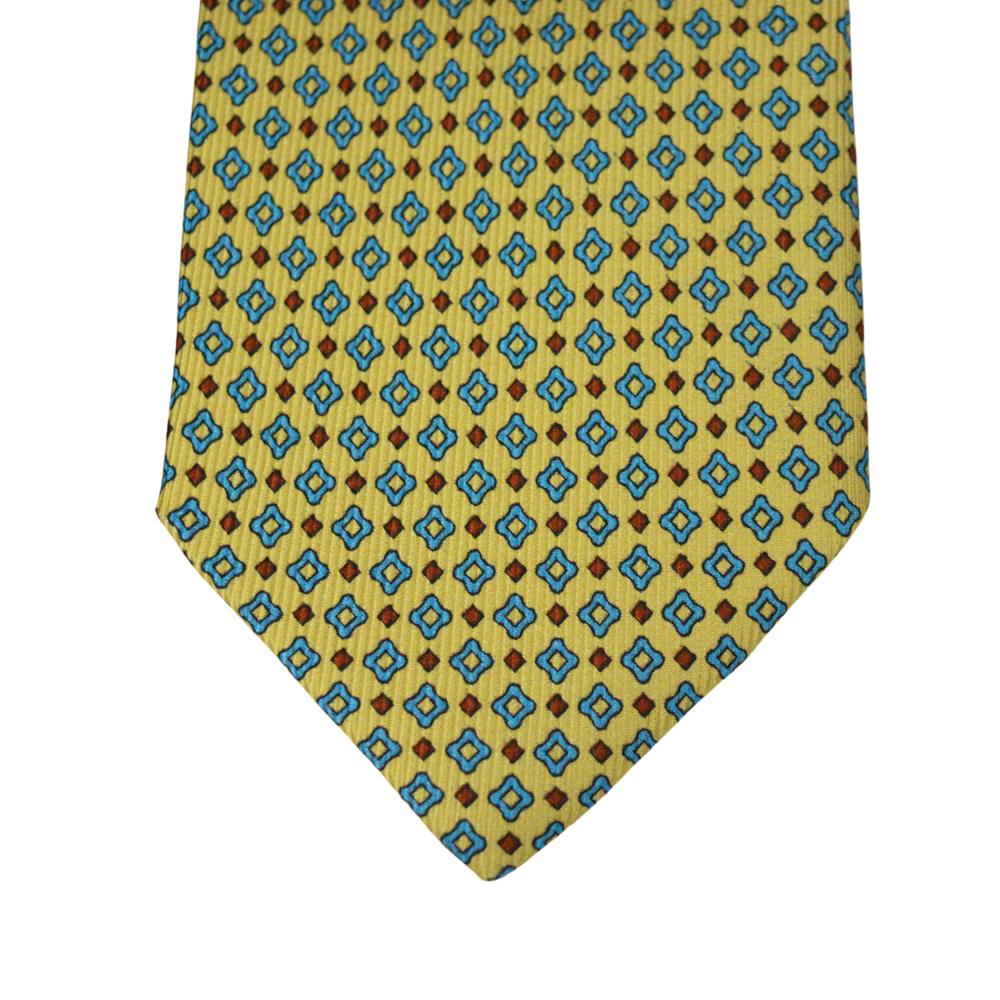 Μεταξωτή Γραβάτα Pierre Cardin κίτρινη με μικροσχέδιο - 8 εκ.