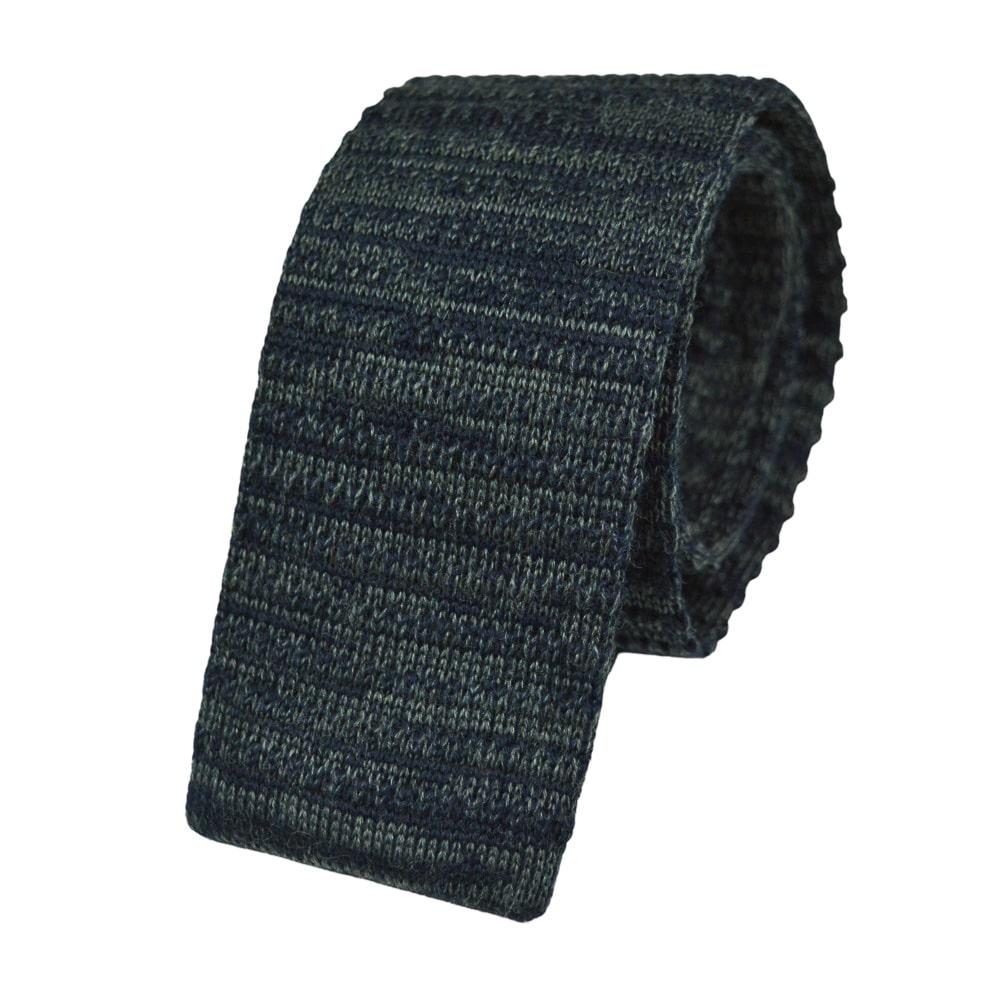 Μάλλινη Πλεκτή Γραβάτα Μπλε-Γκρι