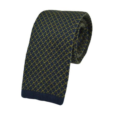 Μάλλινη πλεκτή γραβάτα μπλε-καφέ