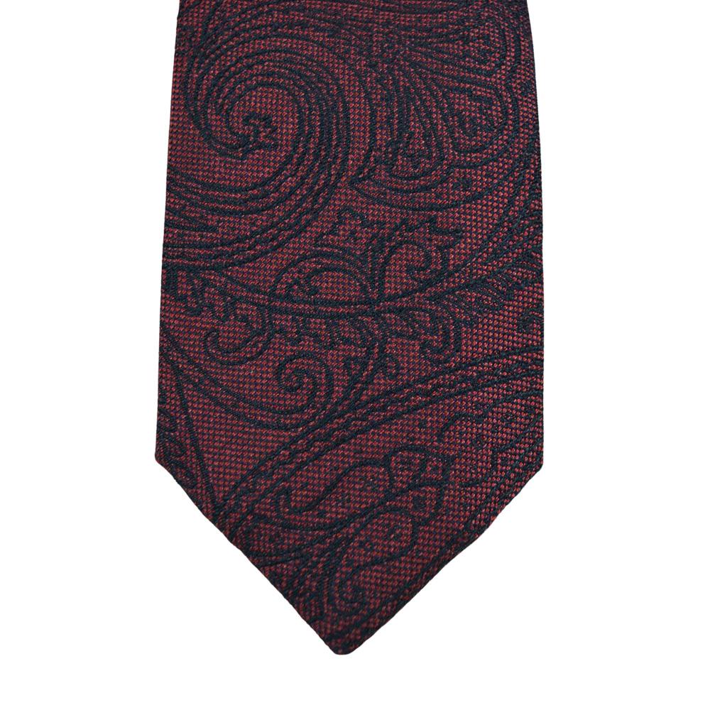 Μεταξωτή γραβάτα μπορντό-μωβ με σχέδια