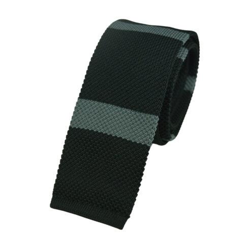 Πλεκτή Γραβάτα Μαύρο με Γκρι