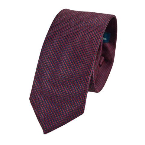 Μεταξωτή γραβάτα με μικροσχέδιο σε κόκκινο και μπλε