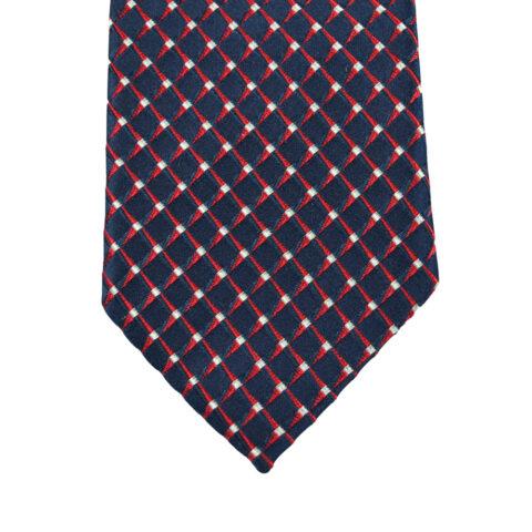 Μεταξωτή Γραβάτα και Μαντήλι σετ μπλε με κόκκινο καρό 7εκ.