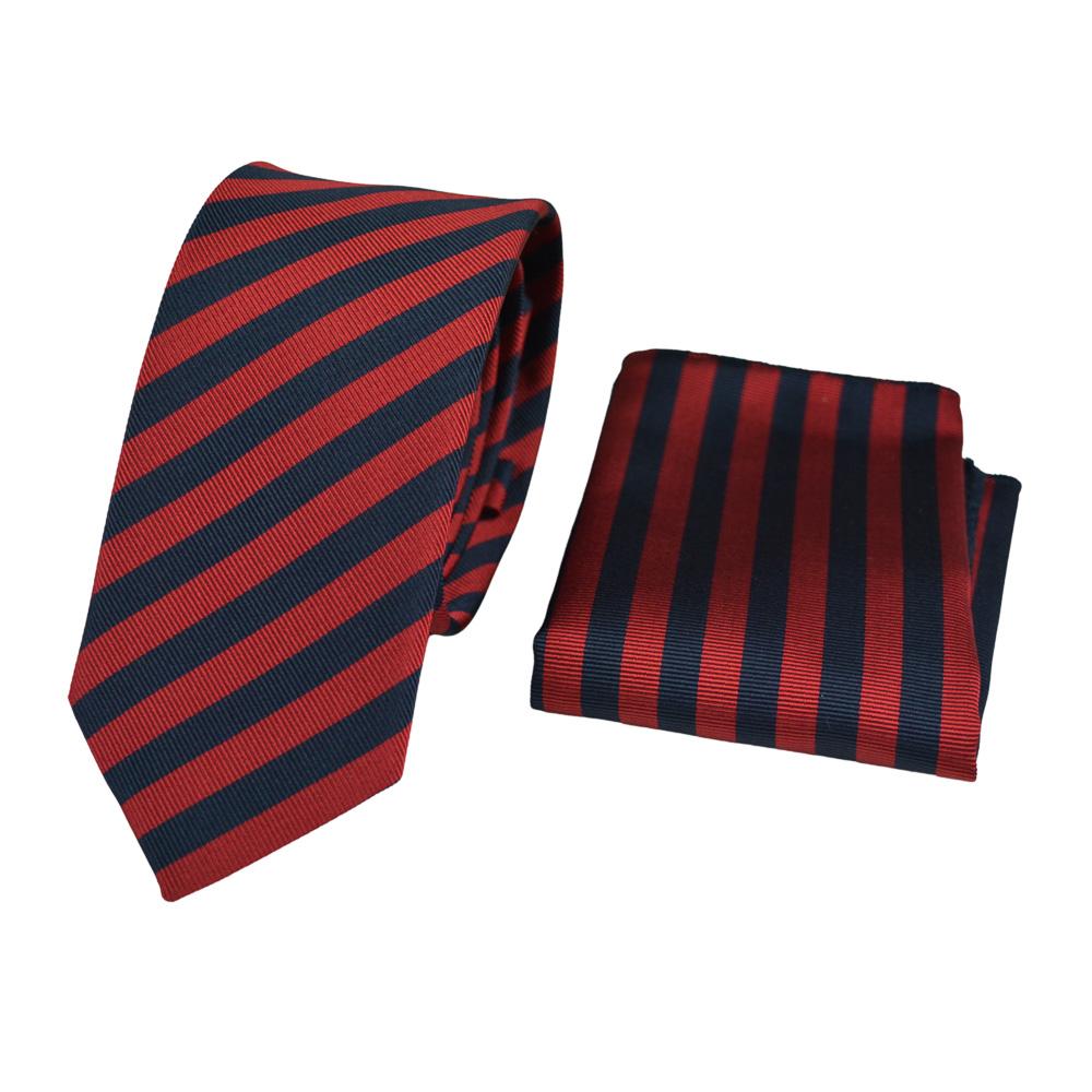 Μεταξωτή Γραβάτα και Μαντηλάκι σετ, κόκκινο με μπλε 7 εκ.