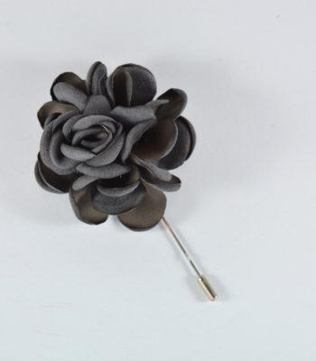 Lapel Pin Big Flower Grey