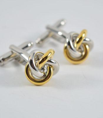 gold-silver-knot μανικετόκουμπα
