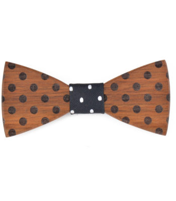 Dotted Wooden Bow TIe