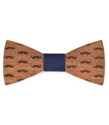 Moustache Wooden Bow Tie