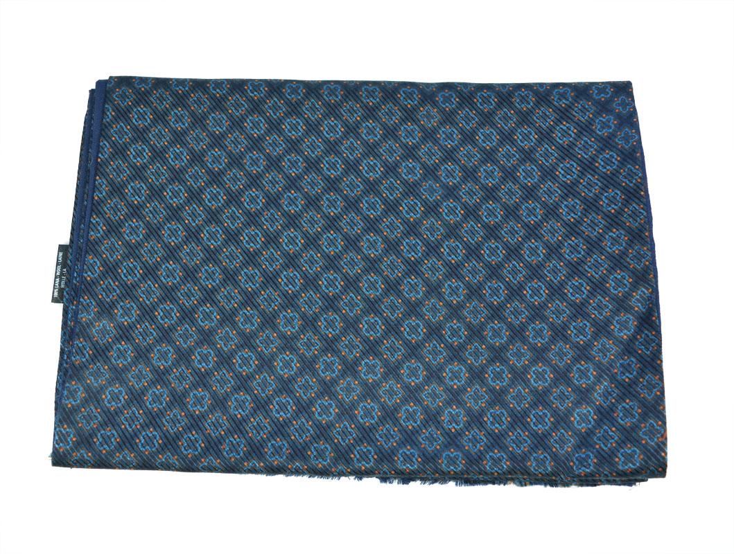 Μεταξωτό-Μάλλινο Κασκόλ Pierre Cardin flo-blue